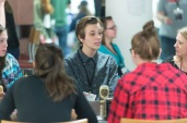 Attendees explore Innovation Alley durring lunch at the TEDxCSU conference at Colorado State University, March 5, 2016