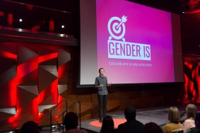 Ashley Wylde talks about The Gender Tag project at the TEDxCSU conference at Colorado State University, March 5, 2016